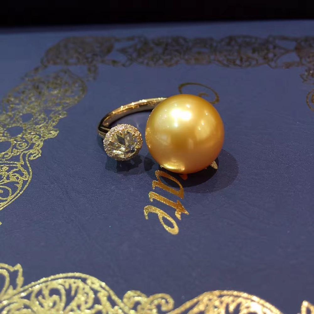 13 - 14 MM southsea alami cincin mutiara emas, 18 K emas dengan - Perhiasan bagus - Foto 1