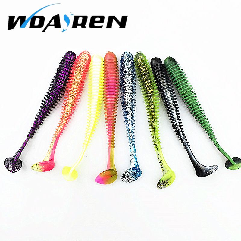 10pcs/lot 7.5cm 2g Soft Bait Worm Swimbaits Fishing Lure Fly Fishing Bait Artificial 8 Color silicone T Tail Lure FA-397 20pcs lot silicone fish shaped fishing artificial lure bait 5cm soft silicone tiddler bait fishing lure