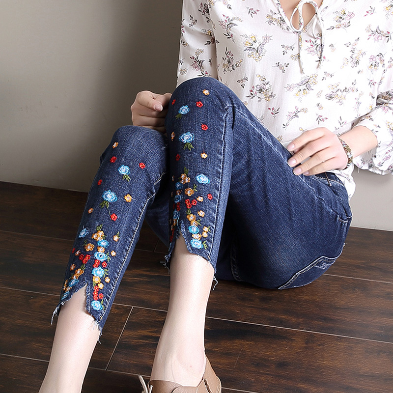 Femme 2017 printemps et été broderie jeans femme cheville longueur pantalon skinny pantalon serré bleu plus grand surdimensionné