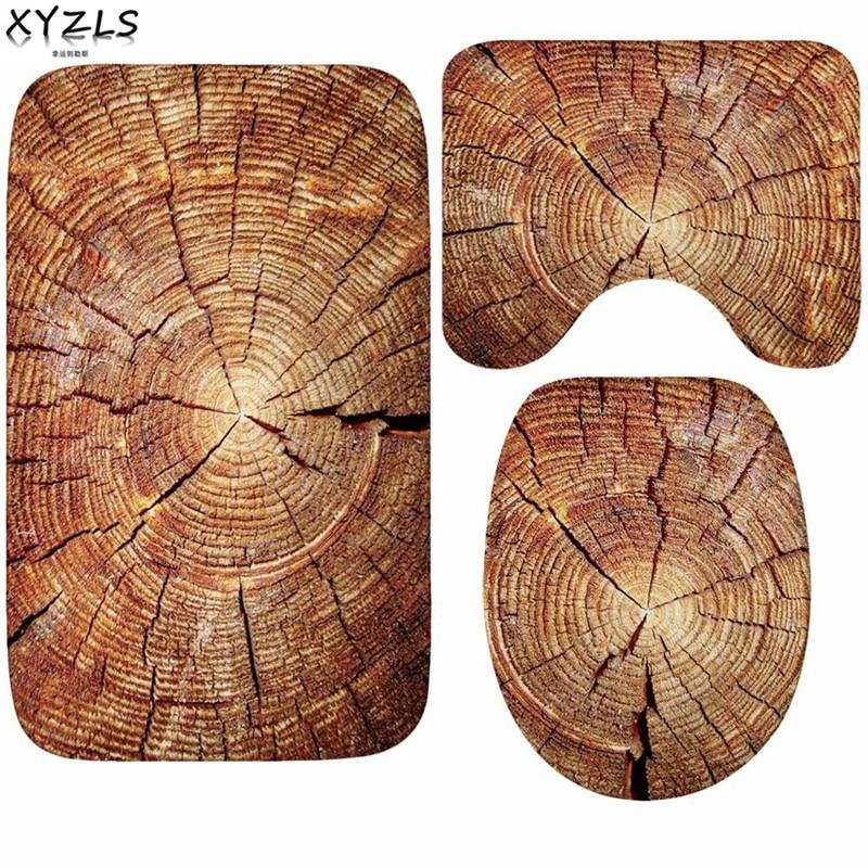 XYZLS 3pcs/set Pine Wood Pattern Nonslip Flannel Bathroom Mats Wood Texture Anti Slip Toilet Carpet Creative Toliet Mats