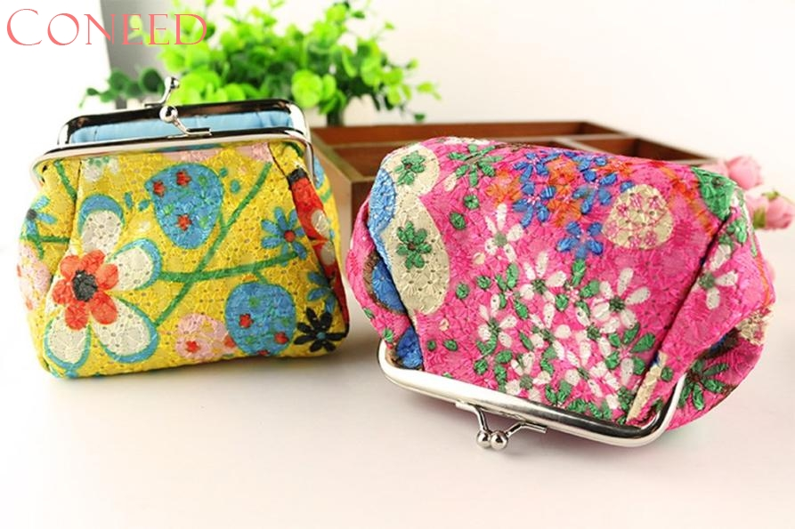 CONEED Women Lady Retro Vintage Flower Small Wallet Hasp Purse Clutch Bag Best Gift Wholesale Jn6 Y25