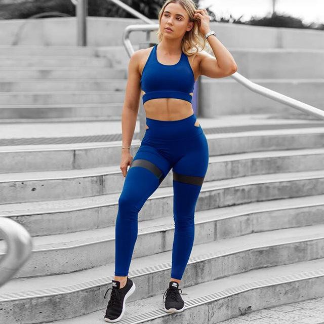 2019 nueva ropa deportiva para mujeres ropa deportiva Sexy Fitness Mujer corriendo entrenamiento de secado rápido conjuntos de gimnasio para yoga ropa