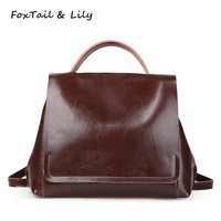 FoxTail Lily Spring 2018 Women Backpack Genuine Leather Vintage Style Tote Shoulder Bags High Quality Female