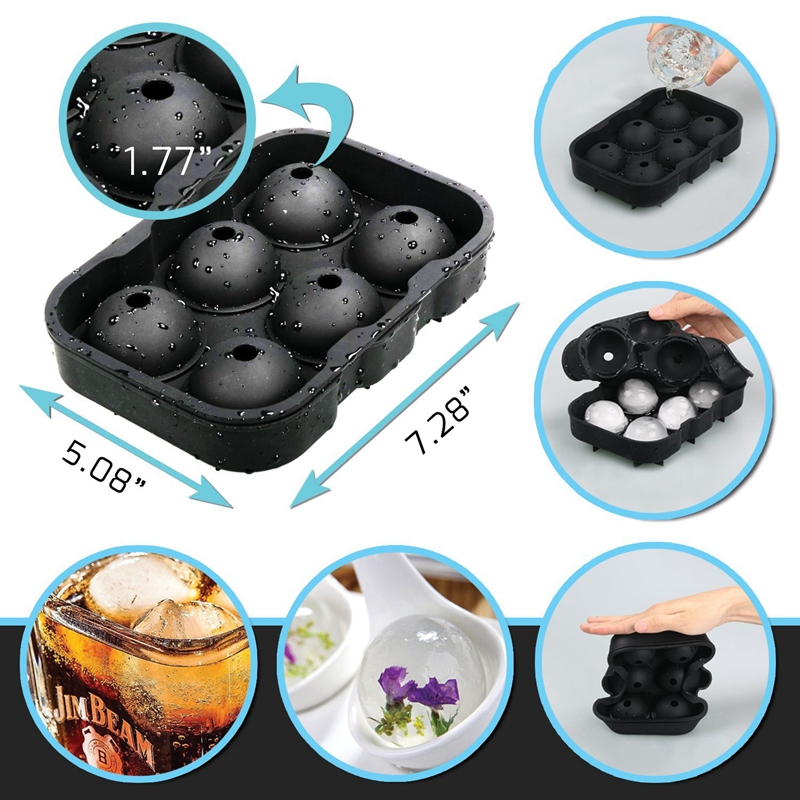 2 PCS Frozen 6 Silicone Ice Ball 6 Persegi Ice Cube Trays Silicone - Dapur, ruang makan, dan bar - Foto 3