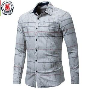 Image 1 - Fredd Marshall 2018 Autumn Fashion Retro Printed Shirt Men Striped Shirt Long Sleeve Casual Dress Shirt Male Brand Clothes 179