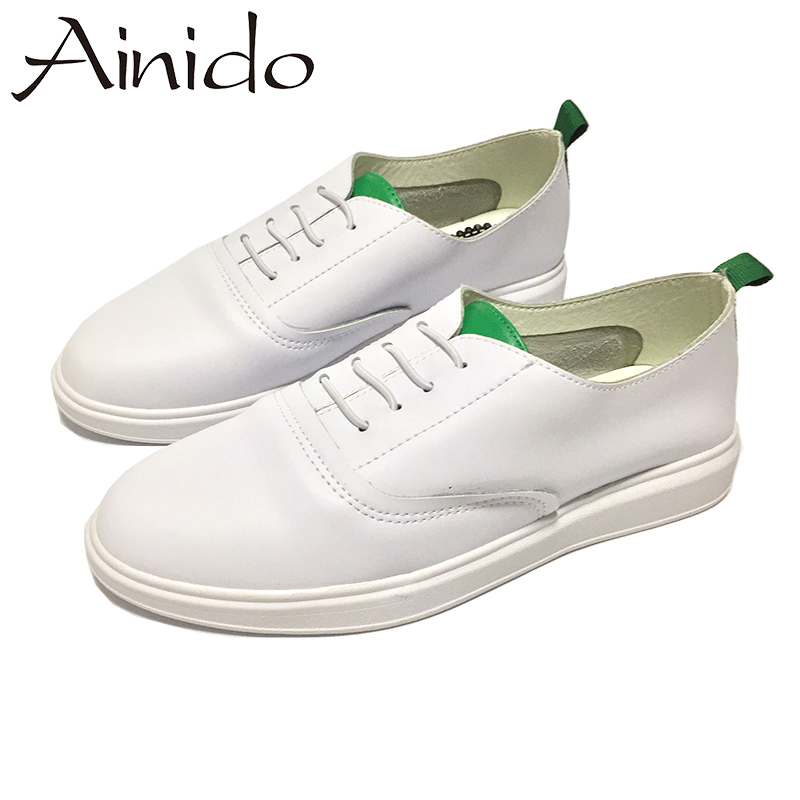 AINIDO Flats Women Casual WHITE Genuine Leather Shoes Comfortable Sapatos Femininos Ladies Moccasins baiclothing women casual pointed toe flat shoes lady cool spring pu leather flats female white office shoes sapatos femininos