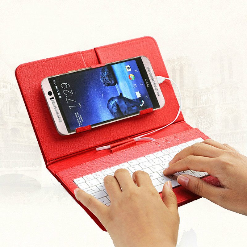 Universal Android Tablet PC flip Leather Case With Wired Keyboard Phone Covers plus for Xiaomi for HTC For Samsung S7 edge
