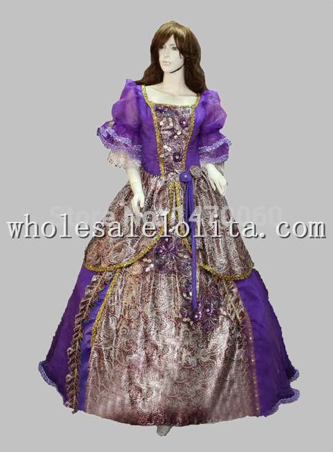 Gothic European Court Ball Gown Purple Marie Antoinette Era Dress