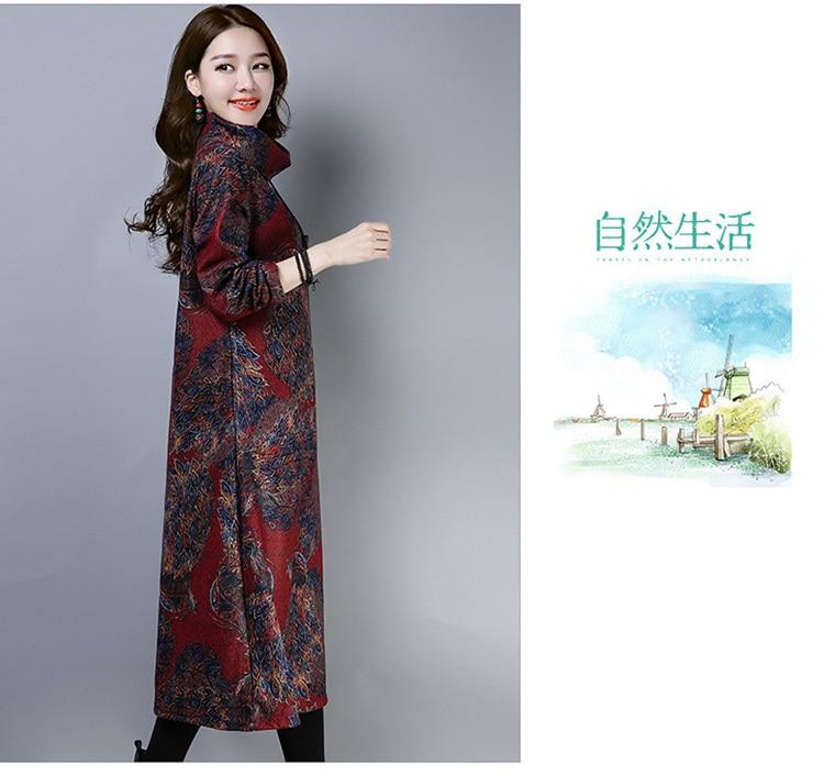2019 New Women Spring Autumn Dresses Turtleneck Printed Female Long Sleeve Vintage Robe Dress Vestido 73