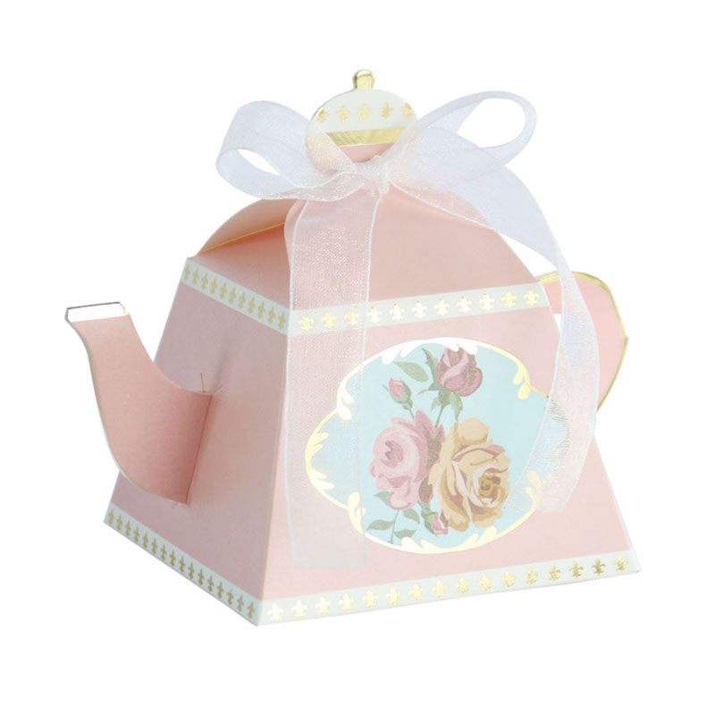 Hoomall 10Pcs/set Teapot Gift Box Candy Box With Ribbon Paper Packaging Box Wedding Decoration Baby Shower Favors Party Supplies