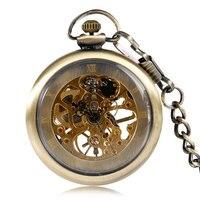 Antique Style Pocket Watch Bronze Open Face Vintage Mechanical Hand Winding Watches Nurse Chain Hour Steampunk