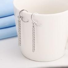 BTS JIMIN  Korea sliver tassel earring For Men Women punk style long drop earring gift statement jewelry accessories e0408
