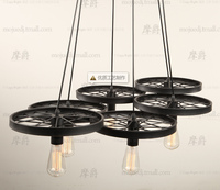 Loft American Country Style Wrought Iron Wheels Pendant Lamp ding room bedroom lamp E27 110 220v