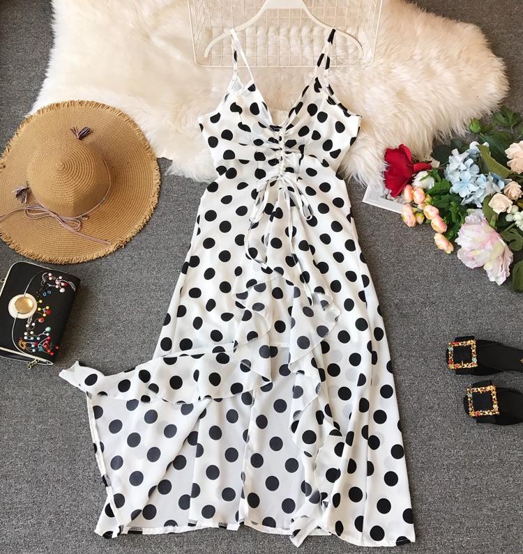 Women Beach Red Dress 2019 Summer New Seaside Holiday Sleeveless Dot Print Casual Vestidos E496 17