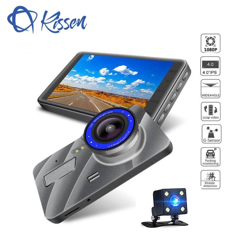 Kissen Full HD 1080 P Voiture DVR 4 Pouces IPS Écran Caméra De Voiture Double Objectif Dash Cam Vidéo Enregistreur Nuit vision g-sensor Registrator