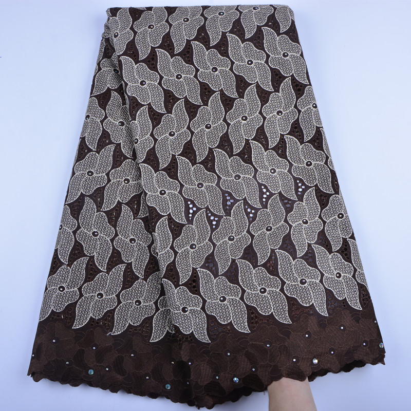 High Quality Swiss Voile Lace In Switzerland 2019 Elegant Brown African Swiss Cotton Voile Lace Fabric