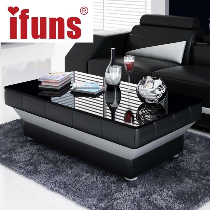 IFUNS New Design Special Coffee Table Tea For Living Room Furniture Leather  U0026 Glass Panel Wooden Leg Black Brown White 5 Color In Coffee Tables From ...