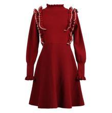 2018 Европа Стиль Весна Для женщин Сладкий трикотажные Платья-свитеры Высокий воротник Длинные рукава тонкий пуловер платье модные платья