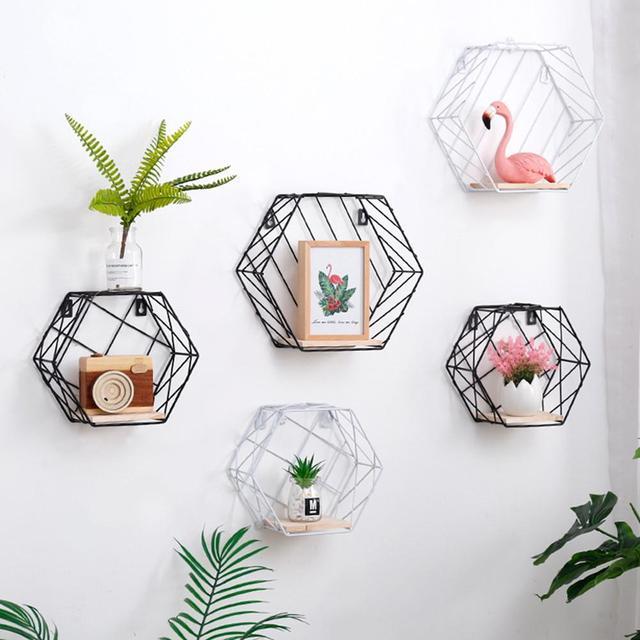 Nordic Wall Decoration Storage Shelf Vintage Metal Iron Sundries Storage Rack Decorative Wall Shelves Organizador Flower Holder