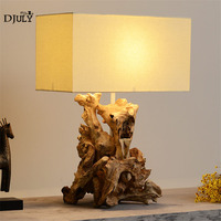 Southeast Asian woodcarving table lamp for living room office study retro home deco wood bedroom lamp loft led table light e27