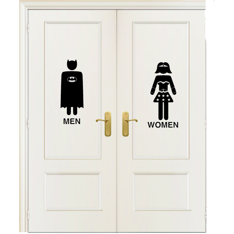 Funny Batman And Wonderwoman Vinyl Toilet Wall Door Home Stickers Decal Wall Sticker A0037 ...