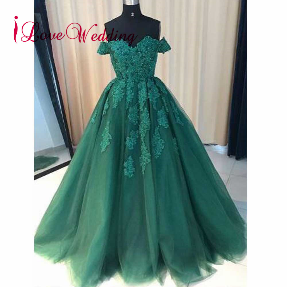 ILoveWedding Evening Dress Ball Gown Sweetheart Off The Shoulder Green Lace Applique Sweep Train Long Evening Gown