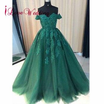 5166ab19d ILoveWedding noche vestido de bola del amor del vestido fuera del hombro  verde del Applique del