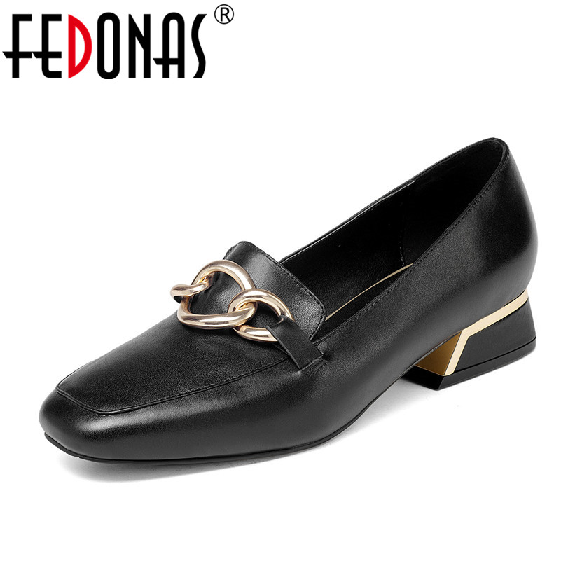 FEDONAS Fashion Genuine Leather Thick Heel Women Pumps Office Ladies Comfortable Shoes Woman Brand Chains Casual Pumps New hot sale new fashion luxury real leather women thick heel pumps flock mix color wedding shoes woman flock sexy elegant pumps