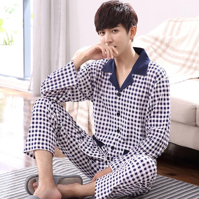 Plus Size M-4XL Men Pajamas Set Autumn and Winter Men Pyjamas Long Sleeve turn-down Collar Sleepwear 100% Cotton Pyjamas