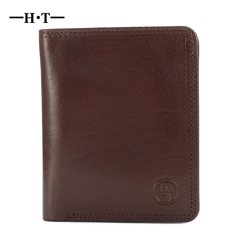 HT Short Wallet Genuine Leather Bifold Purses Mans ID Card Holder Business Style Notecase Male Wallets Small Carteria Cowhide