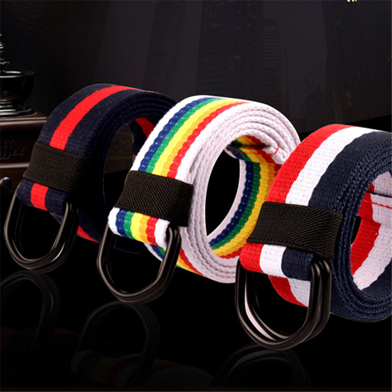 Belts Rainbow stripes canvas jeans belt silver casual belts men and women simple decorative strap belt striped style solid girl