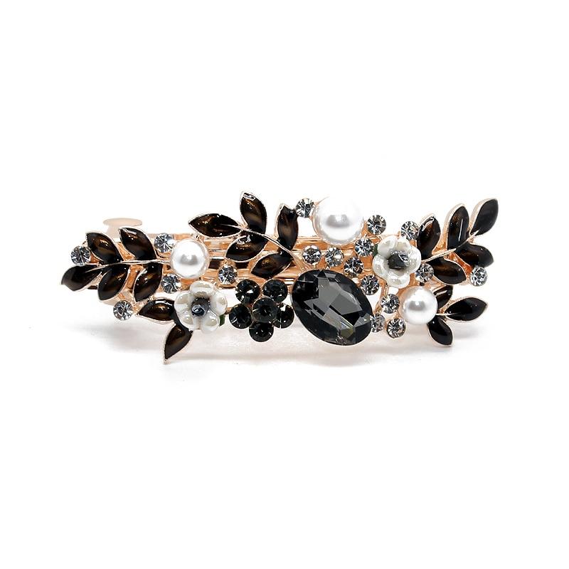 Elegant Black Crystal Hair Barrette Fashion Leaf Flower Rhinestone Hair Clip Luxury Pearl Hairpins For Women Girls Jewelry