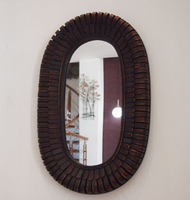 Kingart Antique Larger Bamboo And Wooden Frame Oval Wall Mirror Living Room Mural Deccorative Big Wall Mirror