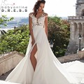 Cheap Simple Beach Wedding Dresses 2017 Sexy Cap Sleeve Boho Chiffon Lace Appliques Bridal Gowns Bride Dress Robe De Mariage