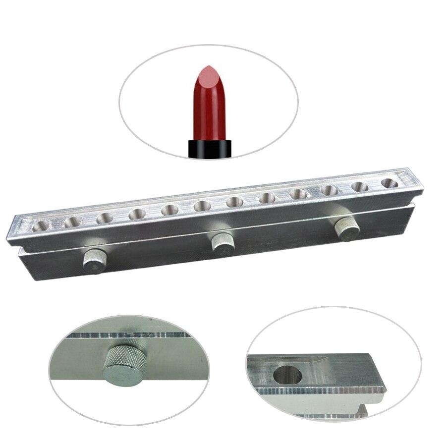 1 set 12 cavités moule de rouge à lèvres super bonne qualité en aluminium 12.1mm 12.7mm 11mm larme, lune goutte personnaliser logo privé