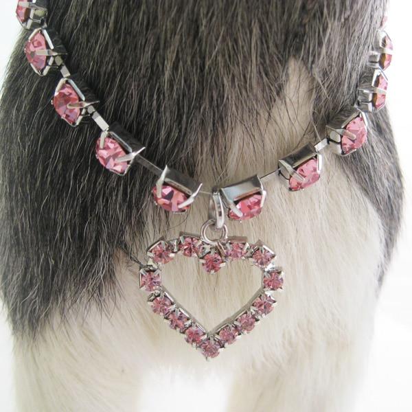 Anjing kecil Kucing Cakar Rhinestones Kalung Kerah Dengan Cinta Charm Pendant Pet Puppy Partai Perhiasan Aksesoris