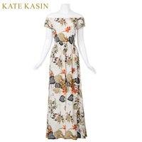 Kate Kasin Super Beauty Women Vintage Dress 2017 Elegant Off The Shoulder Short Sleeve Jumpsuit Draped