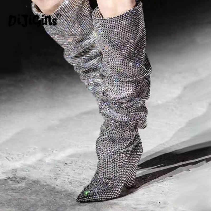 Themost ร้อนขายผู้หญิงหรูหรา Glitter Rhinestone Embellished ดึง Slouchy บนเข่าสูงรองเท้าบูทส้นโคนขนาดใหญ่ Drop Shipping