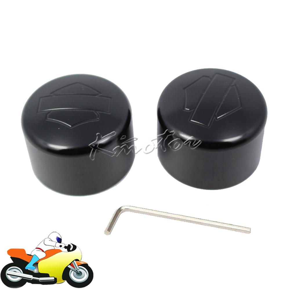 цена на Black Motorcycle Front Axle Nut Cap Cover Bolt Kit CNC Aluminum for Harley Davidson Sportster V-Rod Dyna Road King Electra Glide