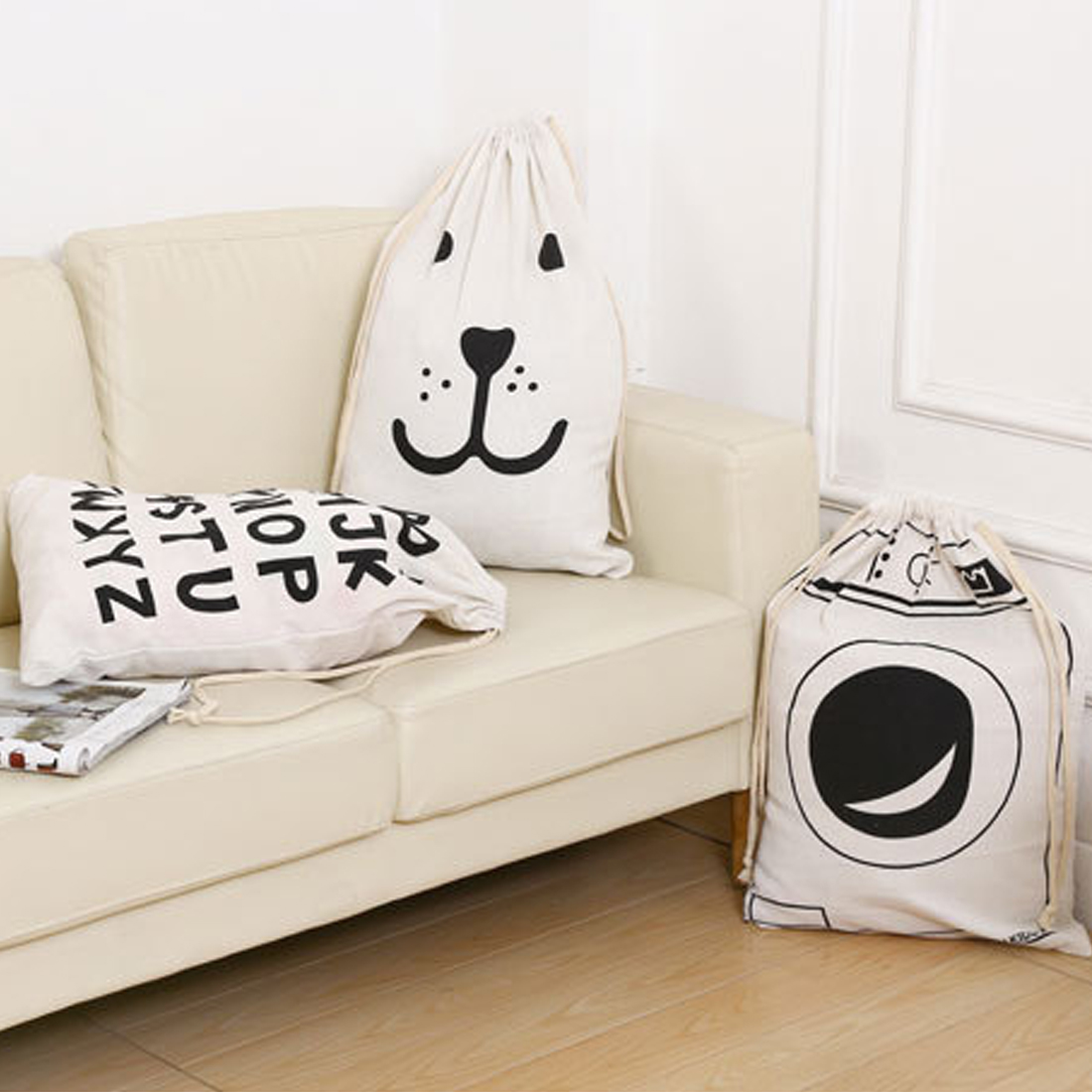 New Large Baby Toys Storage Bags Canvas Bear Laundry Hanging Drawstring Bag Household Pouch Bag Home Storage Organization