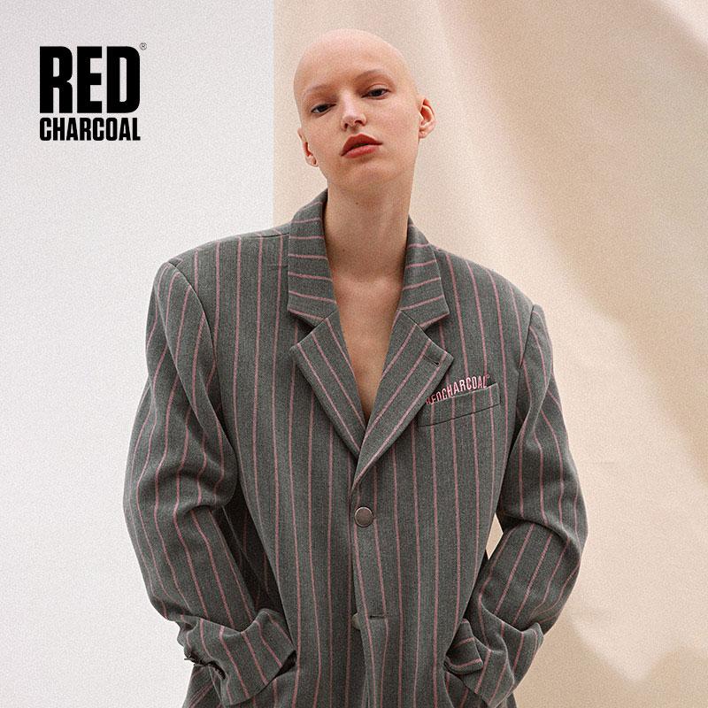 De Charbon Rayé Rouge 2018 S Costume Gris Bois s Blazers Décontracté LVUqjMGSzp
