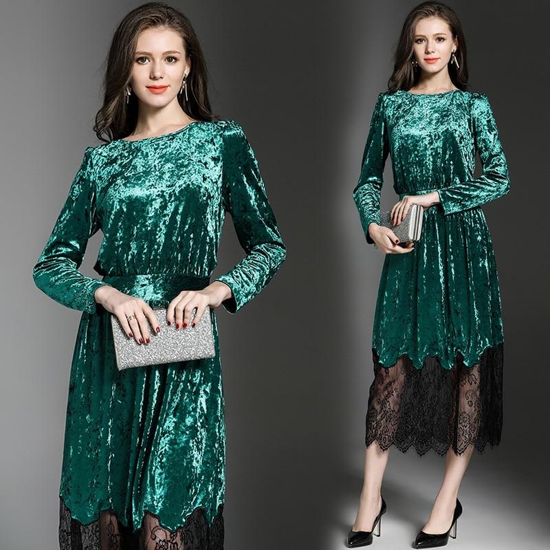 Elegant Women Winter Velvet Lace Dress Dress Robe Hiver 2019 Long Sleeve Green Women Maxi Dress Robe Longue Bayan Elbise K3235
