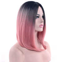 Soowee 11 Colors Black To Pink Ombre Hair Straight Bob Wigs Synthetic Hair Short Party Hair Cosplay Wig for Women