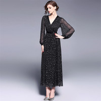 Summer Fashion Casual Deep V neck See through Lantern Sleeves Sexy Long Dress With Stars Women 2019 Hollow Out Party Work Dress