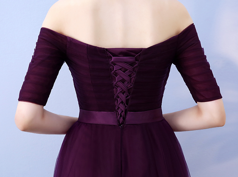 Image 5 - Customize Long Purple Red Woman Evening Dresses 2019 A Line Off the Shoulder Half Sleeve Special Occasion Dresses robe de soireeEvening Dresses   -