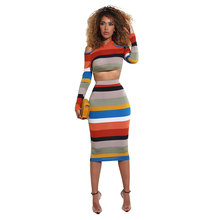 купить Two Piece Set Women Casual Striped Print Cold Shoulder Sets Sexy Zipper Crop Top + Midi Skirt Bodycon Club Suit Female overalls по цене 859.38 рублей