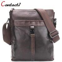 CONTACT S Genuine Leather Men Bags 2017 New Fashion Male Messenger Bag Man Crossbody Shoulder Bag