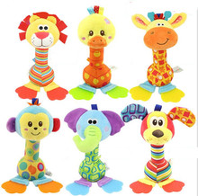 New Baby toy stick Cartoon Animal lion duck elephant dog monkey giraffe Sound Toys Rattle Baby Hand Puppet  Stick