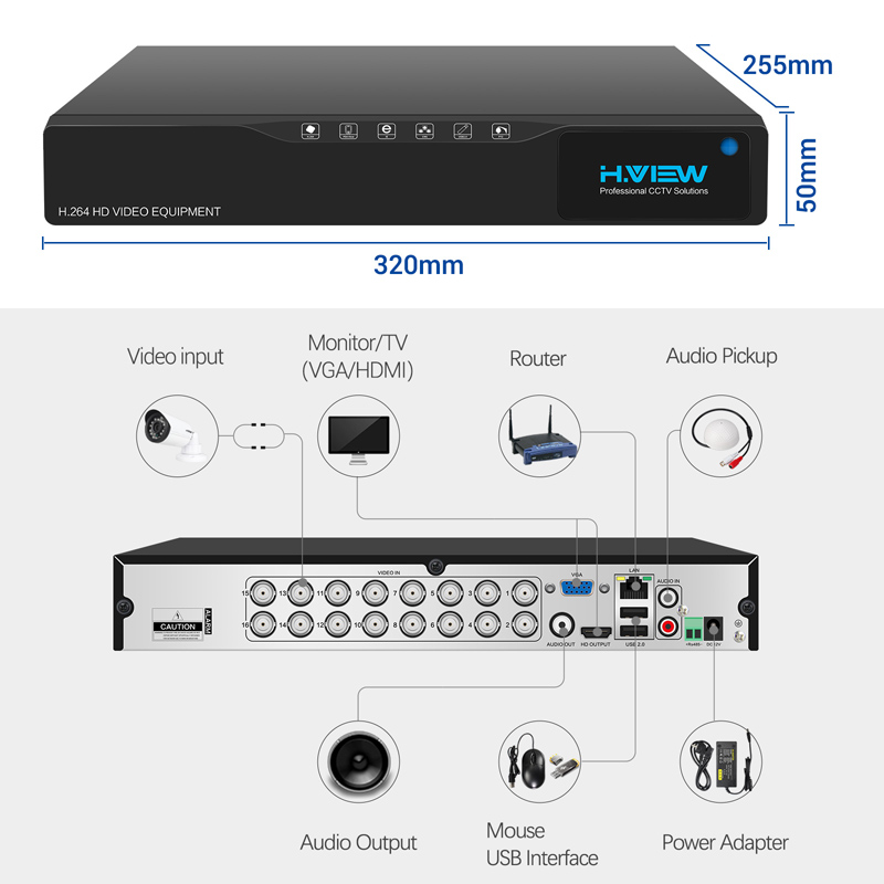 H.View 16CH Surveillance System 16 720P Outdoor Security Camera 16CH CCTV DVR Kit Video Surveillance iPhone Android Remote View