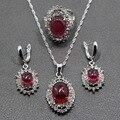 Sedoso Oval Rose Red Creado Rubí 925 Novia Sistemas de La Joyería de Plata de ley Pendientes/Colgante/Collar/Anillo Para mujeres Regalo Gratis TZ47